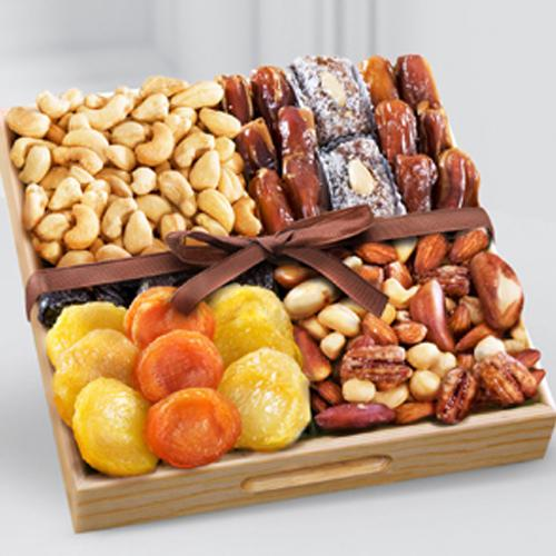 Excellent Snacks time Dry Fruits in a Wooden Tray