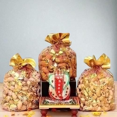 Divine Marble Ganesha with Assorted Dry Fruits