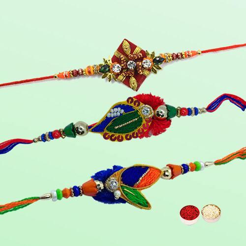 Three Premium Fancy Diamond Kundan Rakhi with Roli Tika and Chawal