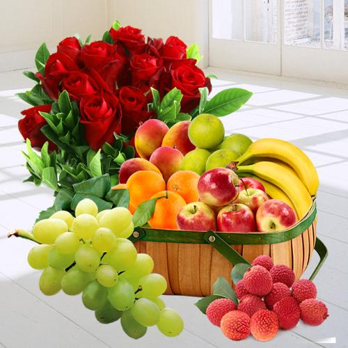 Natural Exotic Desire of Fresh Fruit in a Basket and Red Rose Bouquet