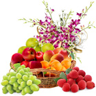 Orchid Decorated Fresh Fruits Basket
