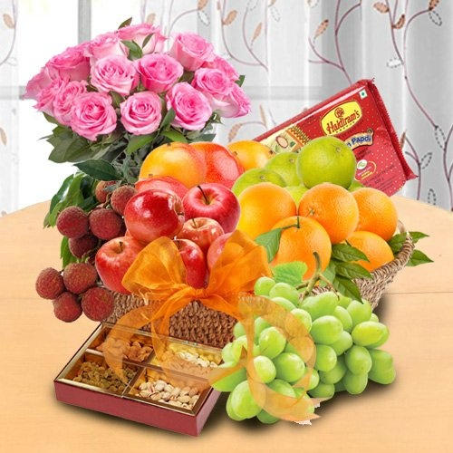 Basket of Fresh Fruits, Sweets & Pink Roses for your Mom