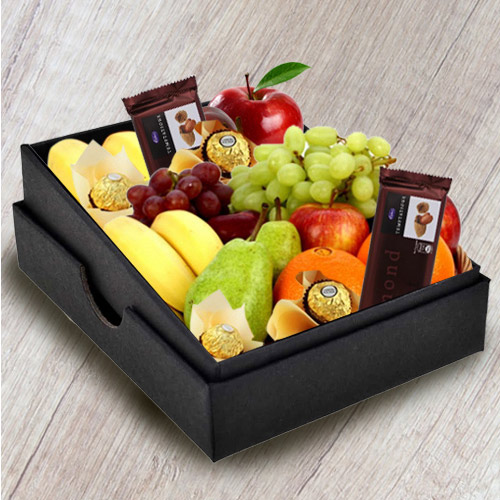 Enticing Box of Fresh Fruits N Chocolates
