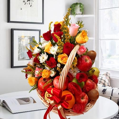 Lovely Fruits n Assorted Flowers Gift Basket