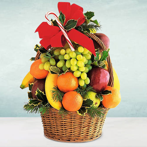 Nicely Decorated Seasonal Fruits Basket