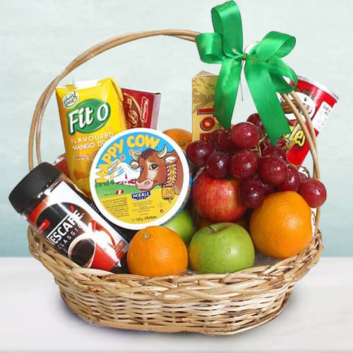 Pleasant Fresh Fruits N Gourmet Essentials Gift Basket