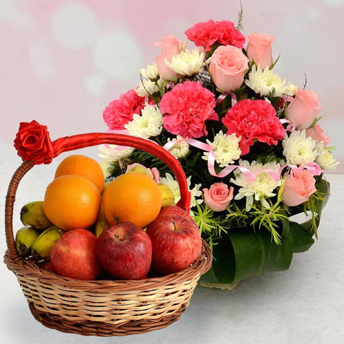 Luxurious Fresh Fruits with Colorful Flowers Basket