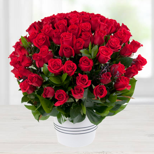 Lovely 100 Dutch Red Roses Special Arrangement