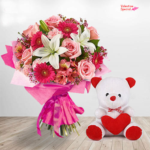 Deliver Valentines Day Gift of Teddy N Floral Bunch