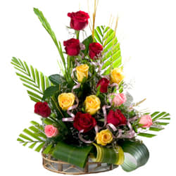 Enchanting Arrangement of 15 Mixed Roses