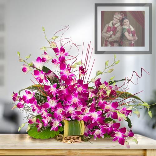 Artful Arrangement of 10 Fresh Orchids