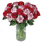 Delightful Bunch of Carnations and Roses
