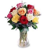 Attractive Assorted Roses in a Vase