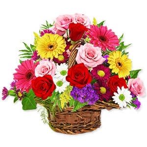 Blushing Assorted Flowers Basket