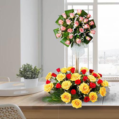 Send Mixed Roses in 2 Tier Arrangement
