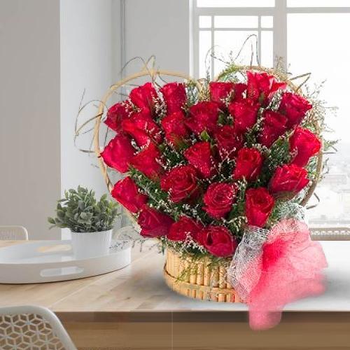 Online Red Roses Heart Shaped Arrangement
