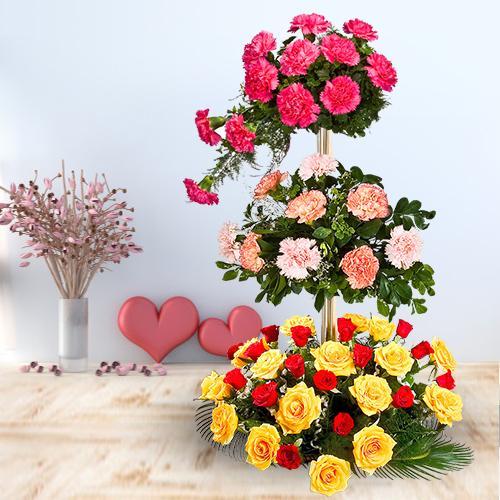 Online Assorted Flowers 3 Tier Arrangement