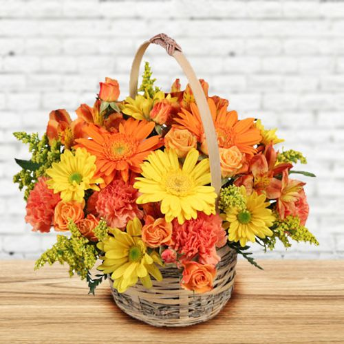 Lovely Basket of Seasonal Flowers