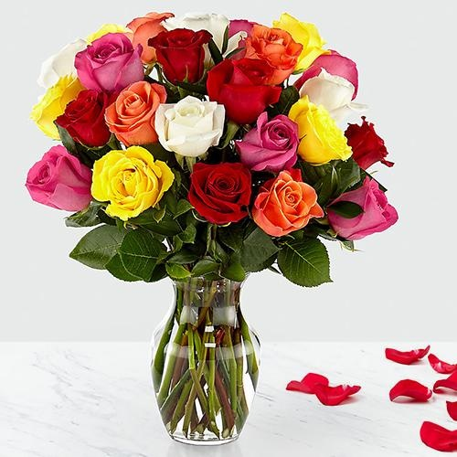 Classic 24 Mixed Roses in Vase with Happiness