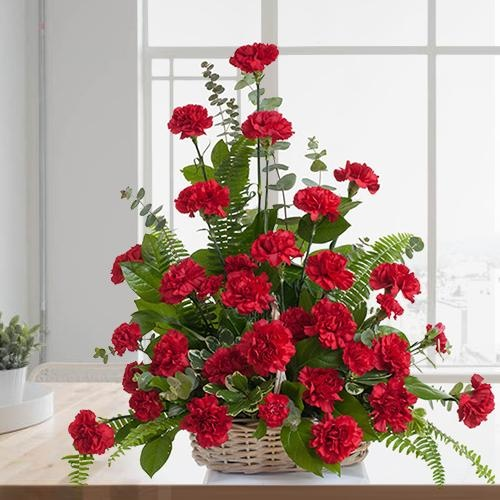Amazing Twelve Red Carnations Basket
