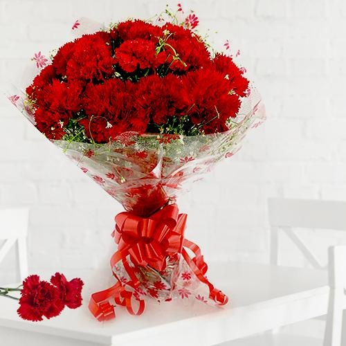 Attractive 12 Red Carnations Bouquet with Warm Love