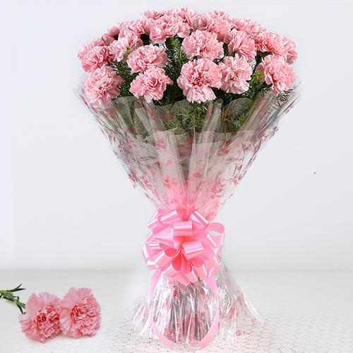 Classic Bouquet of 12 Pink Carnations