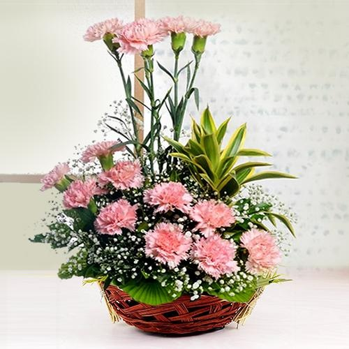 Mothers Day Pink Carnations Basket to India