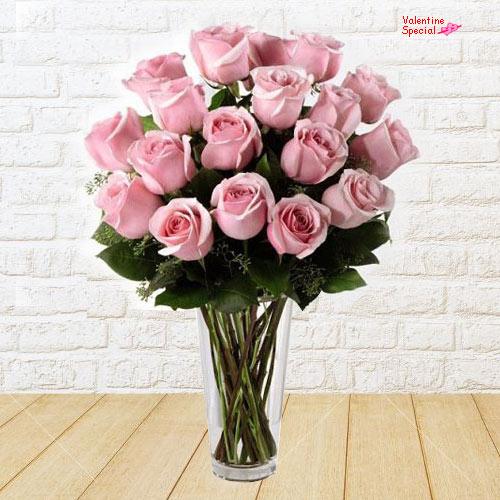 Deliver Pink Roses in a Vase Online
