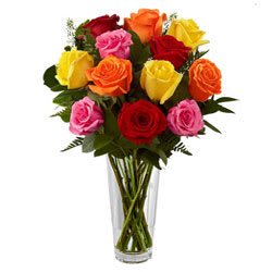 Stunning Mixed Roses in Vase