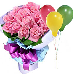 Attractive Fun Floral Gift of Pink Roses with Balloons