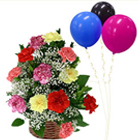 Sweet Thoughtful Deluxe Mixed Carnations Basket with Balloons