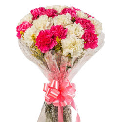 Aromatic Bunch of White N Pink Carnations