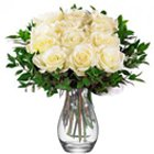 Deluxe Sympathy White Roses in a Vase