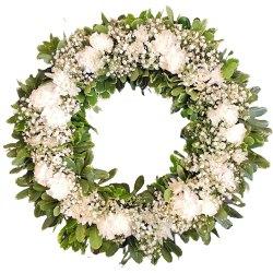 Luminous Heartfelt Condolence Wreath of Carnations