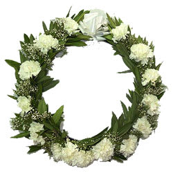 Luminous Heartfelt Condolence Wreath of Carnations
