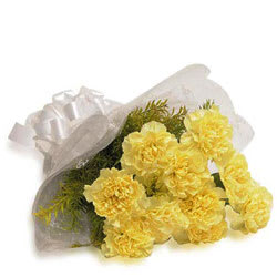Distinctive Carnation Bunch in Yellow Colour