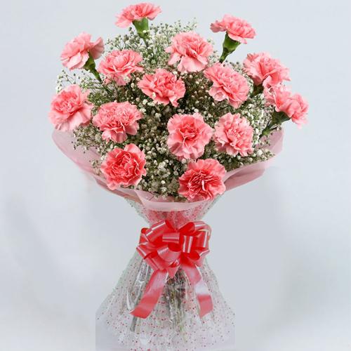 Stylish Pink Colored Carnation Arrangement