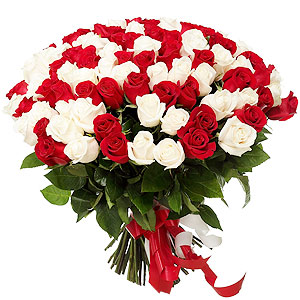 Glowing Marvel Red  N  White Roses Assemblage