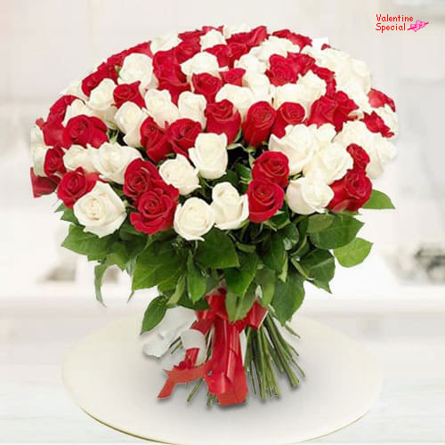V-Day Gift of Red N White Roses Bouquet