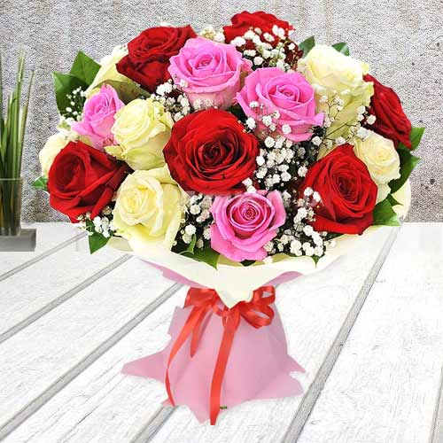 Attractive Colorful Roses Bunch