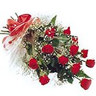 Fashionable Floral Embrace 12 Red Roses Bouquet
