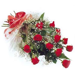 Jewel-Toned Expressive One Dozen Red Roses Bouquet