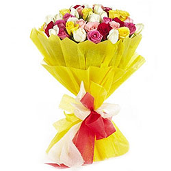 Fragrant Country Cheer 24 Mixed Roses Bouquet