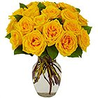 Joyful Bunch of Yellow Roses in a Glass Vase
