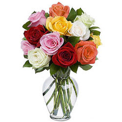 Soft Bunch of Mixed Roses in a Glass Vase