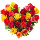 Glorious Heart Shape Arrangement of 30 Mixed Roses