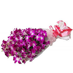 Elegant Embrace Purple Orchid Stems Bouquet