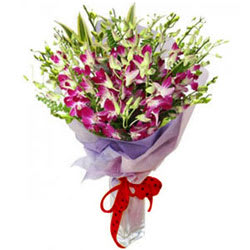 Charming Bouquet of Purple Orchids