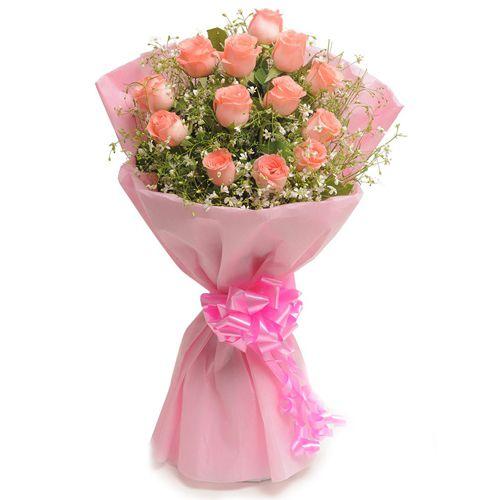 Seasonal Cheer Pink Roses Bunch