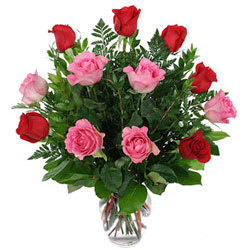 Pink N Red Roses in a Glass Vase